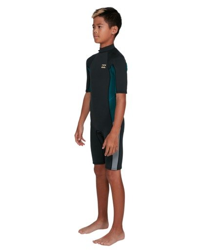 6 Boys 2/2 Absolute Flatlock Back Zip Short Sleeve Springsuit Black 8703400 Billabong