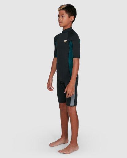 16 Boys 2/2 Absolute Flatlock Back Zip Short Sleeve Springsuit Black 8703400 Billabong