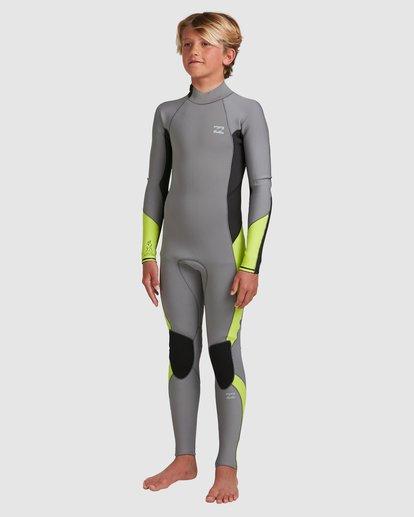 1 Boys 3/2 Absolute Back Zip Long Sleeve Gbs Fullsuit Grey 8717810 Billabong