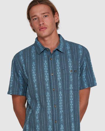 4 Sundays Jacquard Short Sleeve Shirt Blue 9503204 Billabong
