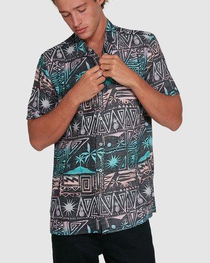 1 Sundays Tribes Short Sleeve Shirt Grey 9503207 Billabong