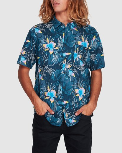 3 Sundays Floral Short Sleeve Shirt Blue 9507202 Billabong