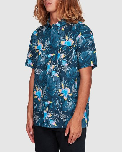 1 Sundays Floral Short Sleeve Shirt Blue 9507202 Billabong