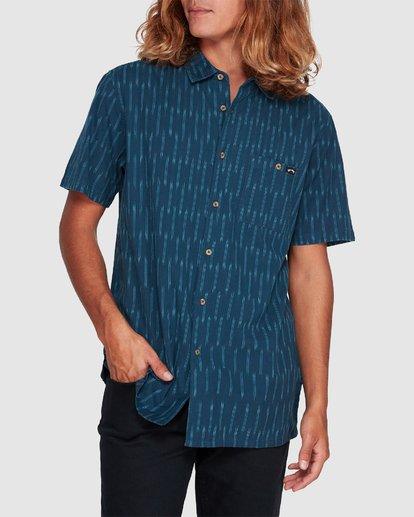 3 Sundays Jacquard Short Sleeve Shirt Blue 9507204 Billabong