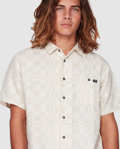 4 Sundays Jacquard Short Sleeve Shirt Beige 9508206 Billabong
