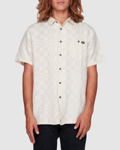 0 Sundays Jacquard Short Sleeve Shirt Beige 9508206 Billabong