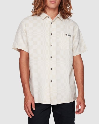 1 Sundays Jacquard Short Sleeve Shirt Beige 9508206 Billabong