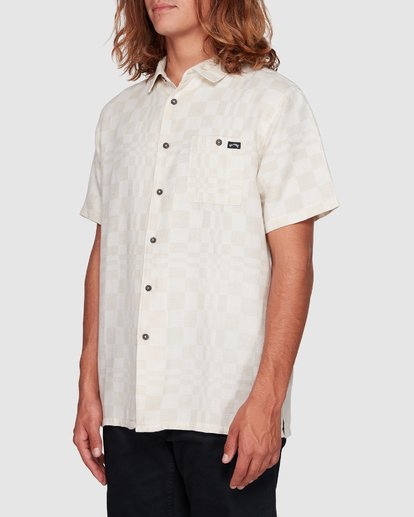 2 Sundays Jacquard Short Sleeve Shirt Beige 9508206 Billabong