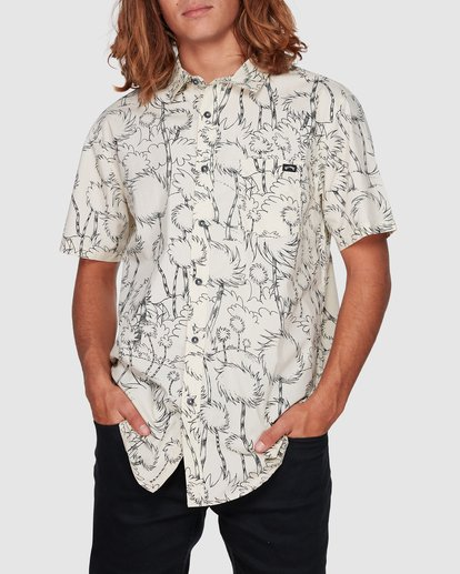 1 Dr. Seuss Truffula Short Sleeve Shirt Grey 9508220 Billabong
