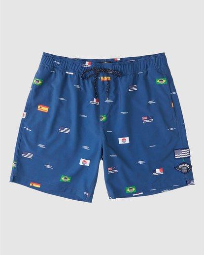 "0 Surfrider USOA Flag Layback Boardshorts 17"" Blue 9508451 Billabong"