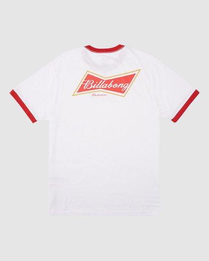 7 Budweiser Bow Ringer Short Sleeve T-Shirt White 9513009 Billabong