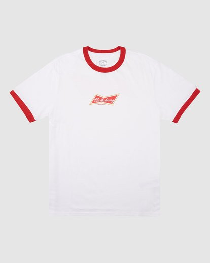 6 Budweiser Bow Ringer Short Sleeve T-Shirt White 9513009 Billabong
