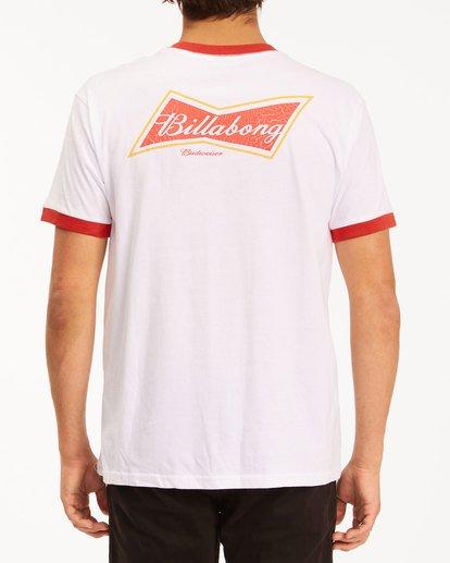 2 Budweiser Bow Ringer Short Sleeve T-Shirt White 9513009 Billabong
