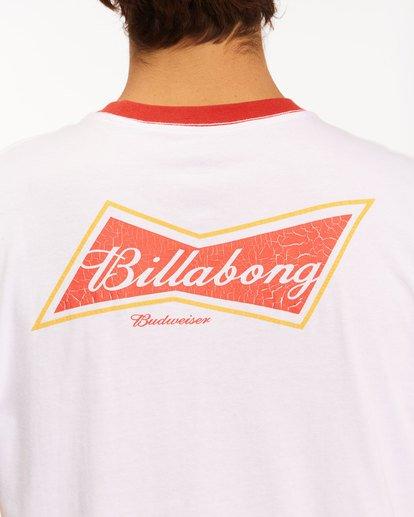 4 Budweiser Bow Ringer Short Sleeve T-Shirt White 9513009 Billabong