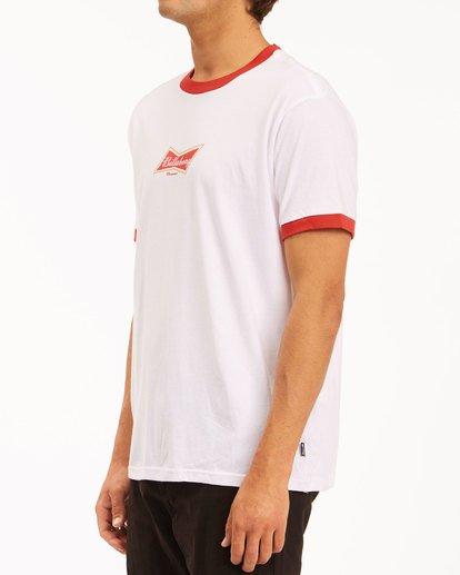 1 Budweiser Bow Ringer Short Sleeve T-Shirt White 9513009 Billabong