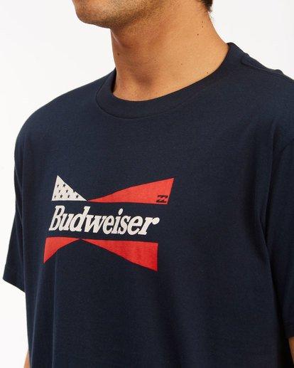 4 Budweiser Flag Short Sleeve T-Shirt Blue 9513010 Billabong