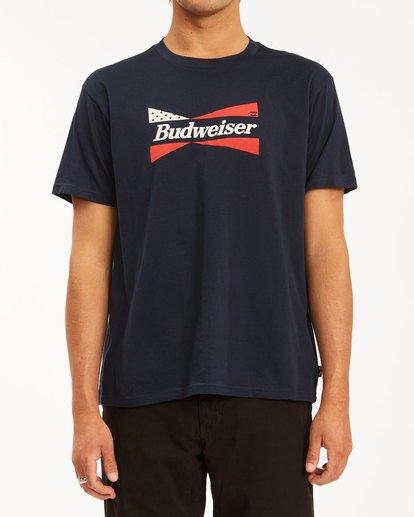 1 Budweiser Flag Short Sleeve T-Shirt Blue 9513010 Billabong