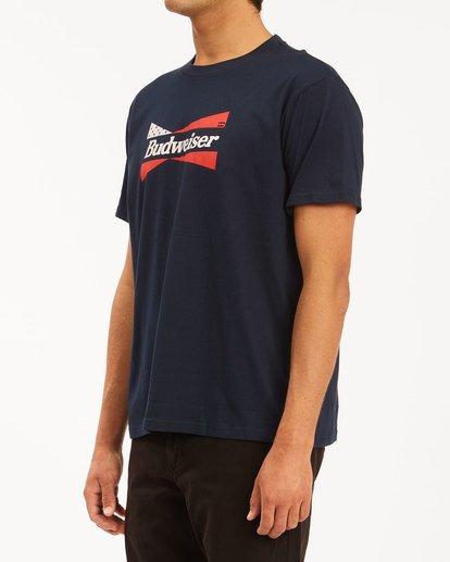 2 Budweiser Flag Short Sleeve T-Shirt Blue 9513010 Billabong