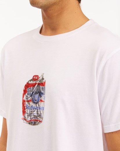 4 Budweiser Crusher Short Sleeve T-Shirt White 9513011 Billabong