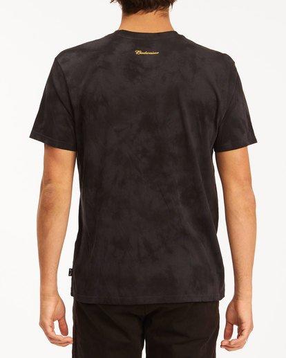 2 Budweiser Bow Tie-Dye Short Sleeve T-Shirt Black 9513012 Billabong