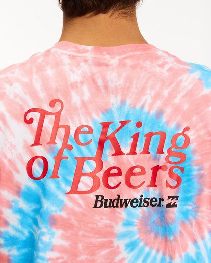 5 Budweiser King Of Beers Tie-Dye Short Sleeve T-Shirt White 9513013 Billabong
