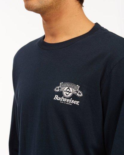 4 Budweiser Insignia Long Sleeve T-Shirt Blue 9513180 Billabong