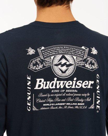 5 Budweiser Insignia Long Sleeve T-Shirt Blue 9513180 Billabong
