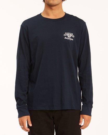 1 Budweiser Insignia Long Sleeve T-Shirt Blue 9513180 Billabong