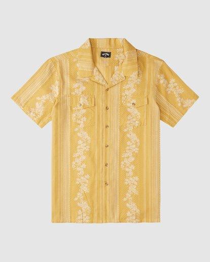 8 Wrangler Other Side Vacay Short Sleeve Shirt Yellow 9513202 Billabong