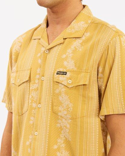 6 Wrangler Other Side Vacay Short Sleeve Shirt Yellow 9513202 Billabong