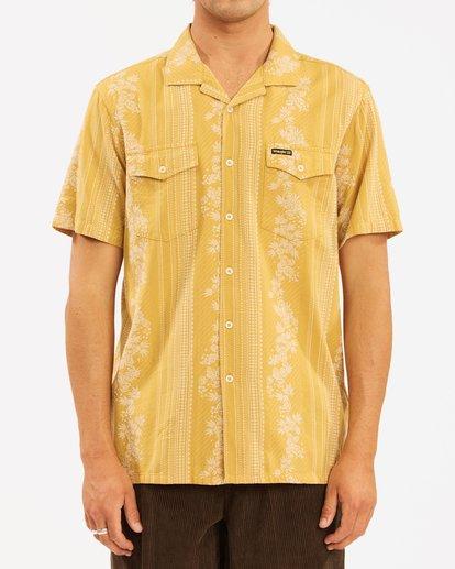 3 Wrangler Other Side Vacay Short Sleeve Shirt Yellow 9513202 Billabong