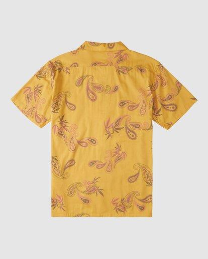 8 Wrangler Hazy Paisley Vacay Short Sleeve Shirt Yellow 9513203 Billabong