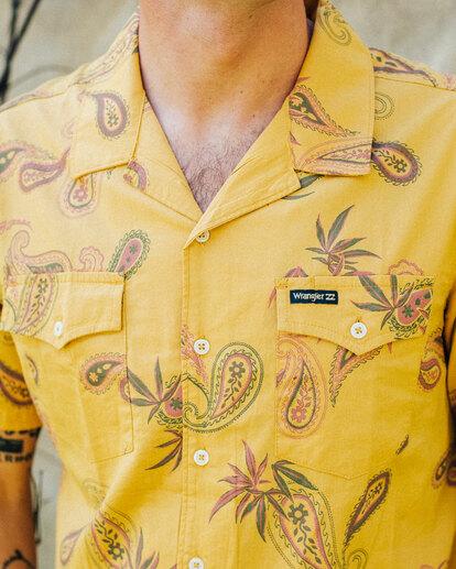 1 Wrangler Hazy Paisley Vacay Short Sleeve Shirt Yellow 9513203 Billabong
