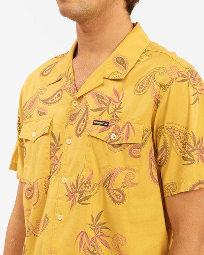 5 Wrangler Hazy Paisley Vacay Short Sleeve Shirt Yellow 9513203 Billabong