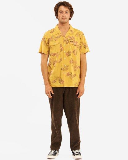 6 Wrangler Hazy Paisley Vacay Short Sleeve Shirt Yellow 9513203 Billabong