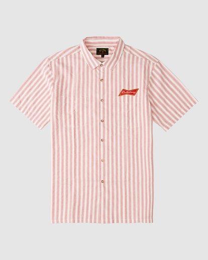 4 Budweiser Bow Stripe Short Sleeve Shirt Red 9513215 Billabong