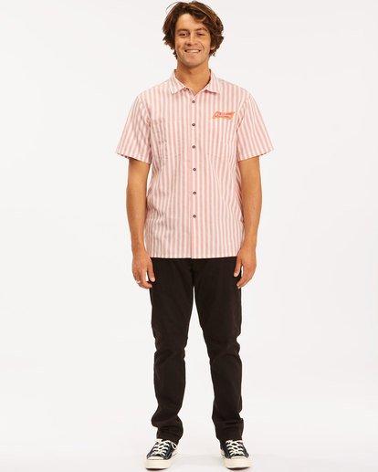 3 Budweiser Bow Stripe Short Sleeve Shirt Red 9513215 Billabong