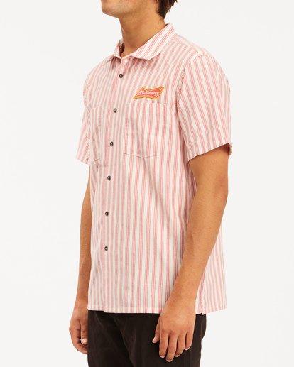 1 Budweiser Bow Stripe Short Sleeve Shirt Red 9513215 Billabong