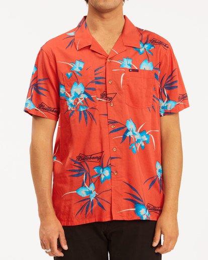 1 Budweiser Vacay Short Sleeve Shirt Red 9513217 Billabong