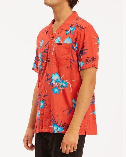 2 Budweiser Vacay Short Sleeve Shirt Red 9513217 Billabong