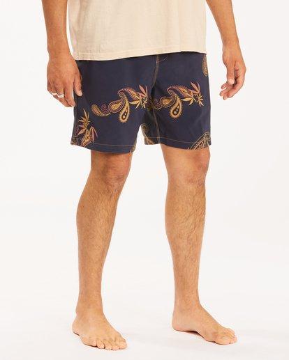 7 Wrangler Hazy Paisley Layback Boardshorts Purple 9513437 Billabong