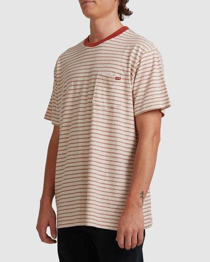 1 A/DIV El Dorado Hemp Stripe Crew T-Shirt Red 9517143 Billabong