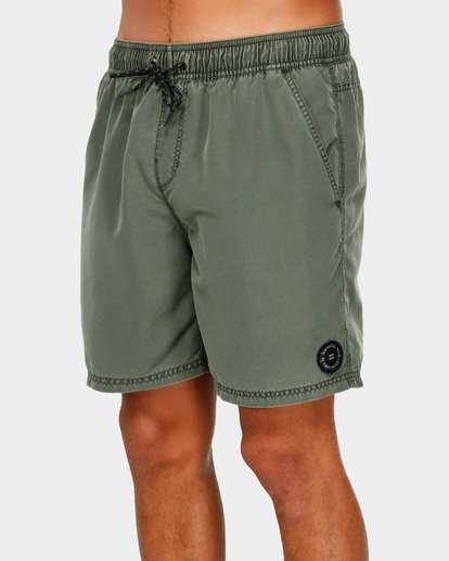 "3 ALL DAY OVERDYE 17"" LAYBACK BOARDSHORT Green 9572439 Billabong"