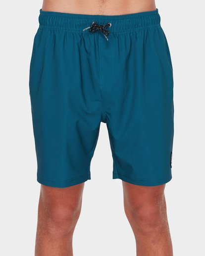 "2 ALL DAY SOLID LAYBACK 17"" BOARDSHORT Blue 9581415 Billabong"