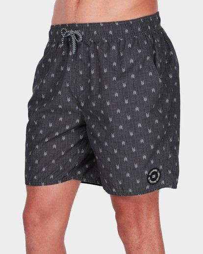 "3 ALL DAY MINI MARK 17"" LAYBACK BOARDSHORT Grey 9581418 Billabong"