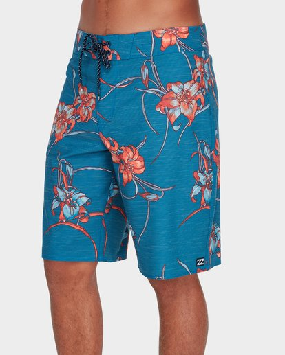 "1 ALL DAY FLORAL PRINTED 19"" BOARDSHORTS Blue 9595414 Billabong"