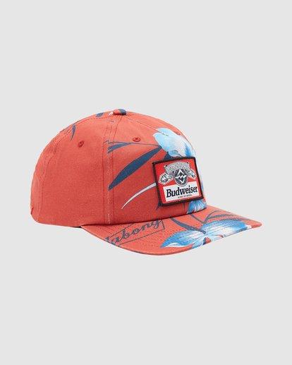2 Budweiser Vacay Snapback Hat Red 9613331 Billabong