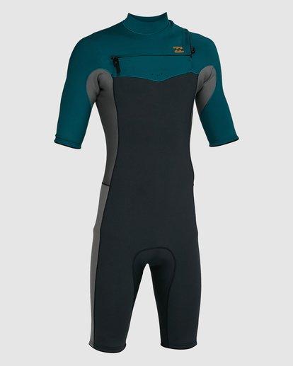 2 202 Revolution Chest Zip Short Sleeve GBS Springsuit Black 9703420 Billabong