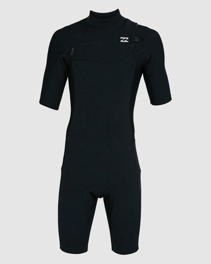 1 202 Revolution Comp Chest Zip Short Sleeve Springsuit Black 9703490 Billabong