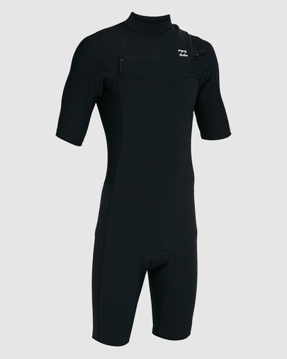 2 202 Revolution Comp Chest Zip Short Sleeve Springsuit Black 9703490 Billabong